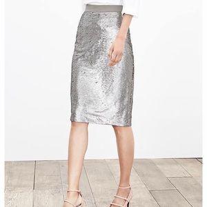 Banana Republic Silver Sequin Pencil Skirt 8